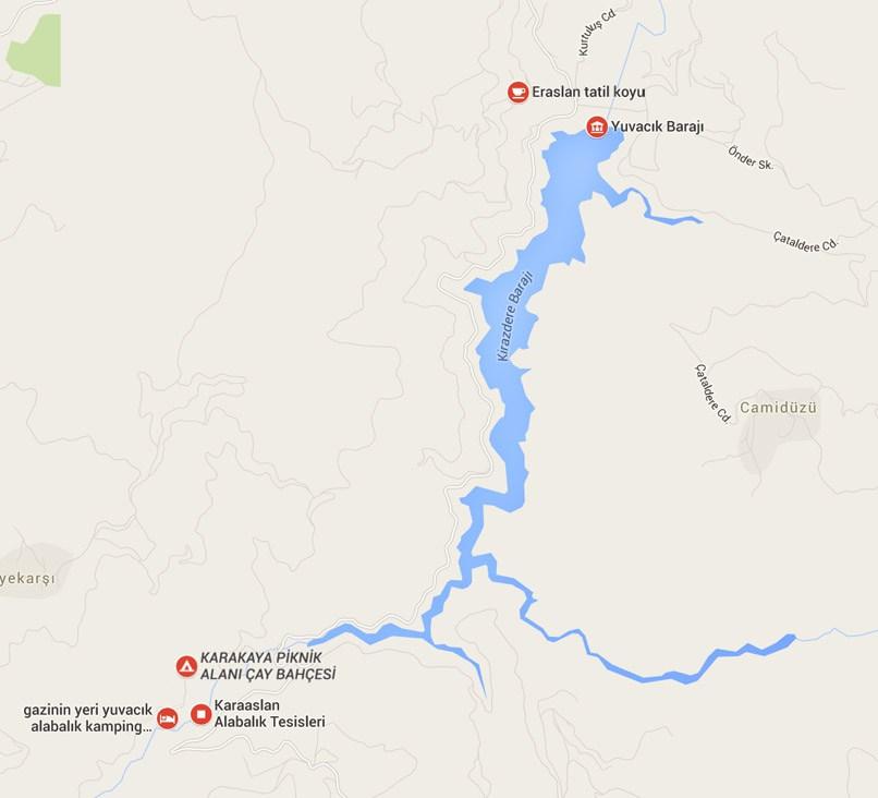 Yuvacık Barajı kahvaltı tesisleri