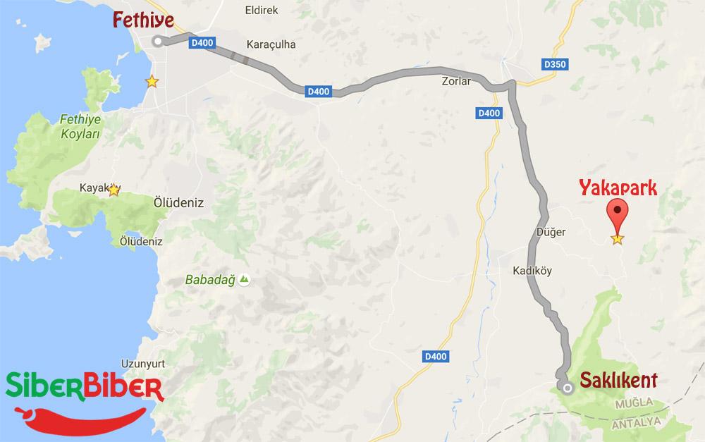 Fethiye Yakapark yol tarifi harita